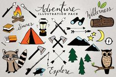 Check out Adventure & Camping Illustration Set by Lemonade Pixel on Creative Market