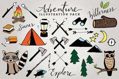 adventure & camping illustration set