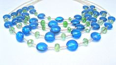 """Blue And Lime Green Multistrand Statement Necklace, Bib Style, High Fashion Style, Boho Style, Urban Chic, """"Blue Cascade"""""""