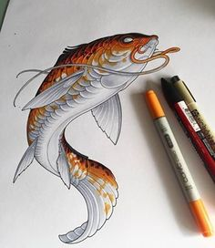 japanese tattoos symbols and meaning Japanese Tattoo Art, Japanese Sleeve Tattoos, Koi Art, Fish Art, Fish Drawings, Art Drawings, Tattoo Sketches, Art Sketches, Osiris Tattoo