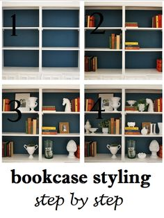 Bookcase styling, step by step:  http://emilyaclark.blogspot.com/2012/11/bookcase-styling-step-by-step.html
