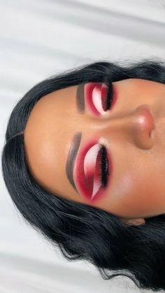 Dope Makeup, Makeup Eye Looks, Beautiful Eye Makeup, Eye Makeup Art, Skin Makeup, Cute Eyeshadow Looks, Red Eyeshadow Makeup, Black Makeup Looks, Cute Makeup Looks