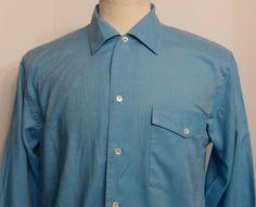Cuzzens Mens Italian Shirt Blue Woven Cotton Size Small #Cuzzens #ButtonFront