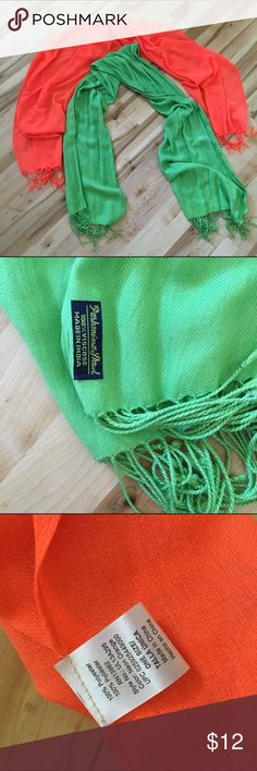 Neon pashmina scarves Bright green pashmina scarf from India. Neon orange scarf is not legit pashmina. There are also several snags in the orange one. Either scarf adds an accent to any outfit! Accessories Scarves & Wraps