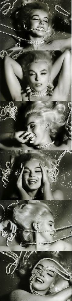 Marilyn Monroe by Bert Stern - 1962. This series of photos is an excellent example of how to handle a boudoir photo session -- have fun and experiment with poses, props (like the pearl strands Marilyn is using), etc. Go for it! ~DLP @Nicole Novembrino Novembrino Heflin lets redo this!
