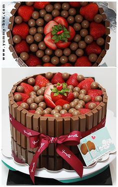 Kit Kat Cake with strawberries and either Bon bons or malted milk balls. Yes strawberries and chocolate Kitkat Torte, Cake Recipes, Dessert Recipes, Valentines Day Cakes, Malted Milk, Strawberry Cakes, Creative Cakes, Celebration Cakes, Let Them Eat Cake