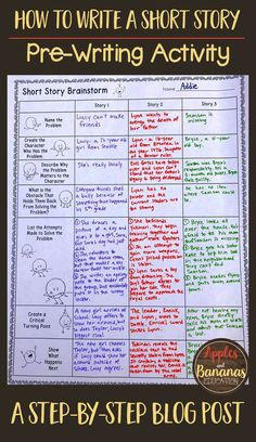 Short Story Pre-Writing and Brainstorm Activity - Apples and Bananas Education