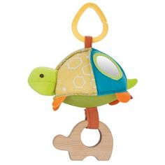 Giraffe Safari Stroller Toys: wooden teether and rattle keep baby happy on the trail. Shake to hear a rattle or chime, and keep small fingers busy with multi-textured details, including a wooden teether.