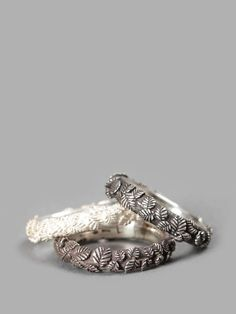UGO CACCIATORI ALL SHADES SILVER TINY LEAVES RING SET - Made in Italy