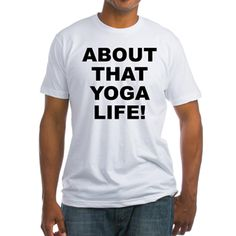 Men's light color white t-shirt with About That Yoga Life theme. Yog(a) is a proven, tried and tested spiritual science system that balances the mental, physical and spiritual so that you can attain higher soul and spiritual unfoldment. Available in white, natural, pink, baby blue, sunshine yellow; small, medium, large, x-large, 2x-large size for only $22.99. Go to the link to purchase the product and to see other options – http://www.cafepress.com/statyl