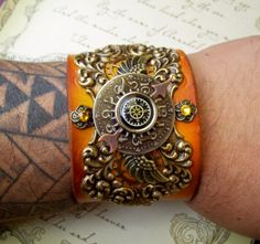 Steampunk Leather Wristband C16  Scrollwork by DesignsByFriston