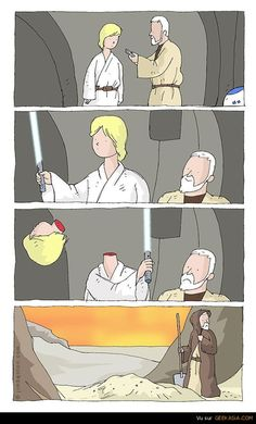 BAHAHA!!!  NOTHING can go wrong by handing the elegant and DEADLY weapon to the kid who's never held any weapon before!  GREAT idea, Obi-Wan!