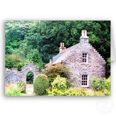 Shop Scottish Cottage created by Personalize it with photos & text or purchase as is! Little Cottages, Cabins And Cottages, Stone Cottages, Stone Houses, Scottish Country Cottages, English Cottages, Cottage Style Homes, Stone Cottage Homes, Cottage House