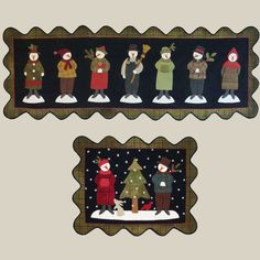 """Seven Snowmen"" table runner pattern, 16 x 44"", by Bonnie Sullivan at All Through The Night"