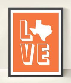 11x14 Love Texas Wall Art Print. $15.95, via Etsy.