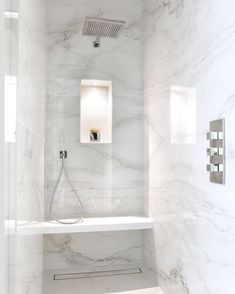 Master Ensuite shower room at our sq ft development project in Wimbledon. Clean, fresh and simple 😉 Marble Tile Bathroom, White Marble Bathrooms, Marble Showers, Modern Luxury Bathroom, Bathroom Design Luxury, Luxury Shower, Spa Shower, Bathroom Renos, Small Bathroom
