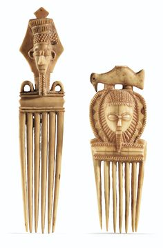 Two ivory combs from the Baule tribe of the Ivory Coast.