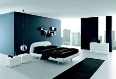 A minimalistic bedroom with a fabulous view over the City #sleep #ergoflex