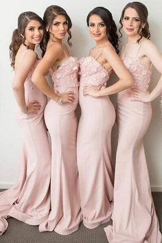 Cute Pink Spaghetti Long Sheath Mermaid Applique Bridesmaid Dresses Z1404