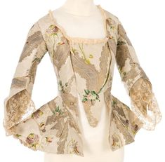 FCBTC / Mid-to-late century - Jacket with Matching Stomacher 18th Century Dress, 18th Century Costume, 18th Century Clothing, 18th Century Fashion, Mid Century, Historical Costume, Historical Clothing, Bodies, Rococo Fashion
