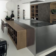 I like the different levels for different uses and open shelving as well as that crinkled polish steel accent (moveable cover). Contemporary Kitchen Design, Open Shelving, Kitchen Island, Interior Design, Scandinavian, Polish, Steel, Home Decor, Open Kitchens