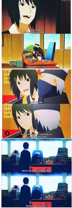 """Haha Shizune still calls Kakashi """"Lord"""", actually Rokudaime-sama >>>English. Naruto Sasuke Sakura, Naruto Cute, Naruto Shippuden Anime, Anime Naruto, Naruhina, Sasusaku Doujinshi, Sasunaru, Kakashi Funny, Kakashi Sensei"""
