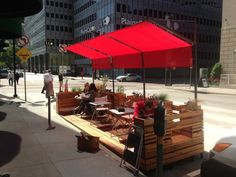 The parklet was in the West End earlier this week and moves to St Paul Street today. During its final week there will be several programmed activities, including a closing party/concert next Wednesday.: