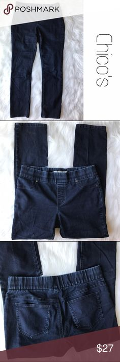 """Chico's Pull On Dark Jeggings Stretch Skinny Jeans Chico's size .5 which equates to a small/6. Dark wash.  Great condition.  Inseam 29"""".  Waist, unstretched lying flat is 15 1/4"""". B12 Chico's Jeans"""
