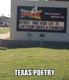 Poetry in Texas…aww I miss sonic.