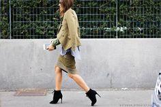 Christine Centenera before Bottega Veneta at Milan Fashion Week Fall 2015