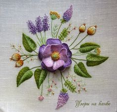 Violet Roses ~ raised embroidery by Узоры на канве (Patterns on Canvas)