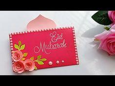 Diy Eid Cards, Eid Greeting Cards, Ramadan Cards, Greeting Cards Handmade, Xmas Cards, Art And Craft, Craft Work, Eid Crafts, Paper Crafts