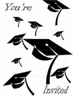 free printables graduation invitation, high school graduation card, caps