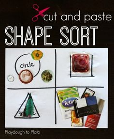 Such a great way to teach kids about shapes! Cut and Paste Shape Sort. {Playdough to Plato} Shape Games For Kids, Games For Toddlers, Kids Shapes, Preschool Math Games, Preschool Activities, Shape Activities, Daily Activities, Preschool Learning, Playdough To Plato