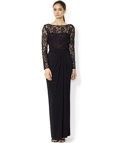 thinking this is the dress for the Marine Corps Ball this year! Lauren Ralph Lauren Long-Sleeve Lace V-Back Gown