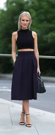 Crop tops and a pleated midi skirt — classy, cool, and supercute.