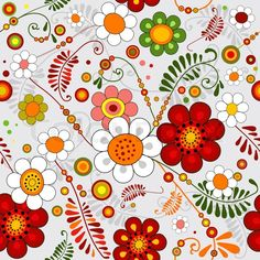 2577715-grey-seamless-floral-pattern-with-vivid-flowers-vector.jpg (800×800)