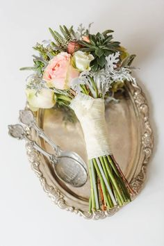 Bridal bouquet with blush roses and succulent plants on vintage tray - Stefan Fekete Photography Destination Weddings in Greece and Europe Blush Pink Wedding Dress, Bridal Bouquet Pink, Blush Pink Weddings, Bridal Flowers, Flower Bouquets, Autumn Wedding, Chic Wedding, Elegant Wedding, Photo Corners