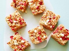 Get No-Bake Healthy Strawberry-Almond Cereal Bars Recipe from Food Network