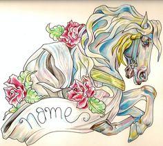 Carousel horse tattoo.  Needs a pole though.