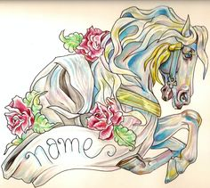 Carousel Horse Tattoo Flash photo by stephanieknight | Photobucket....Love this, it reminds me of my grandmother :)