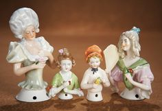 View Catalog Item - Theriault's Antique Doll Auctions  . Four German Porcelain Half Dolls