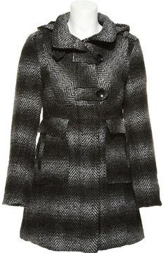 DOLLHOUSE Herringbone Wool-Blend Coat W/ Removable Hood [6787C] $41.95