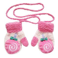 Fuzzy Striped Girl Flower Toddler Child Infant Baby Fall Winter Mittens Glove US
