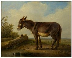 Landscape with donkey Place of Origin: Brussels, Belgium (painted). Date 1846 (painted). Artist/maker: Verboeckhoven, Eugène Joseph, born 1798 - died 1881 (painter (artist)). Courtesy: © Victoria and Albert Museum, London (UK).
