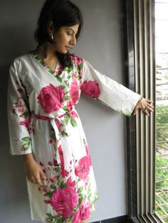 Knee length Robe Style Made From E9 Fabric Pattern