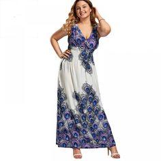 CharmMma Plus Size Sexy V Neck Printed Bohemia Boho Maxi Long Dress Women Summer 2017 Elegant Evening Party Dress Femme Plus Size Formal Dresses, Plus Size Maxi, Elegant Dresses, Casual Dresses, Prom Dresses, Summer Dresses For Women, Cute Fashion, Fashion Women, Shopping