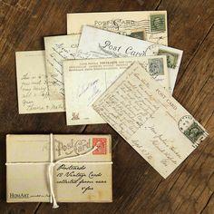 Vintage and Wood Postcard Set