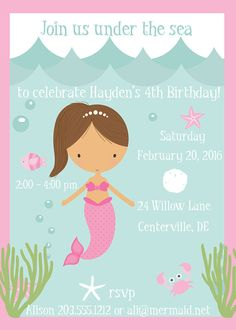 Mermaid Invitation Under the Sea Ponytail Mermaid by Freshcitrus