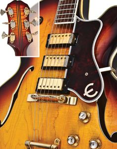 "1962 Epiphone Emperor - Premier Guitar Three mini-humbuckers offer a large palette of amplified tones. The 4-piece maple neck is divided by three mahogany strips. Note the art-deco Grover Imperial tuners with their ""stair-step"" buttons.    Read more: http://www.premierguitar.com/Magazine/Issue/2012/Oct/1962_Epiphone_Emperor.aspx##ixzz26EEbL2pq"